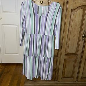 Discount Divas Size L Pastel Striped Dress NWOT